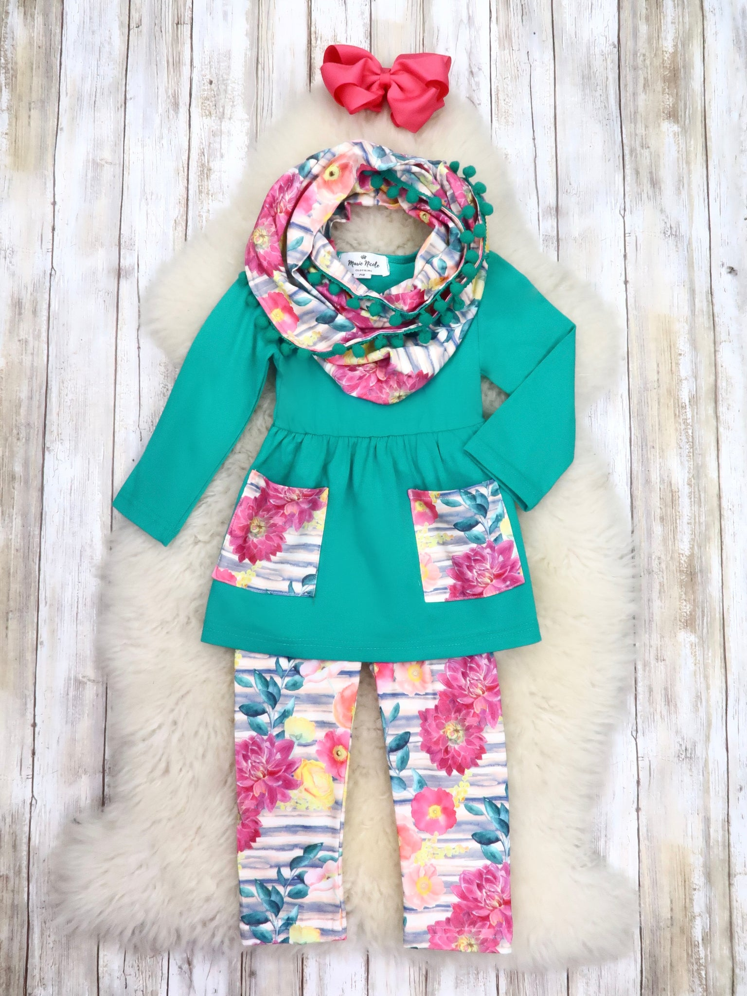 Teal Tunic, Pink Floral Pants, & Scarf Outfit