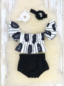 Black & White Peony Crop & Bloomers Outfit