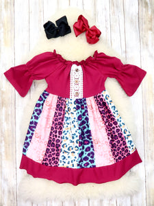 Burgundy Bubble Sleeve Colorful Leopard Print Ruffle Dress