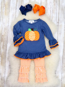 Denim Pumpkin Ruffle Top & Orange Striped Ruffle Pants Outfit