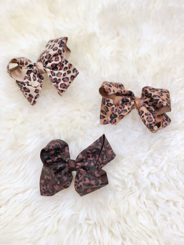 4 Inch Ribbon Bow with Alligator Clip- Leopard Print