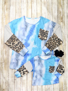 Mom & Me Blue Tie-Dye / Leopard Top