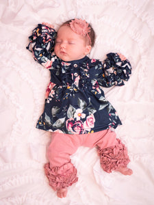 Midnight Floral Button Ruffle Sleeve Outfit