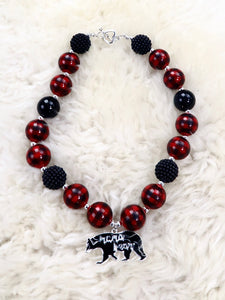 Mama Bear Black / Red Bubblegum Pearl Necklace