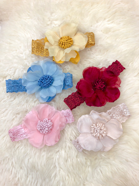 4 Inch Lacy Flower Headband 5 Colors Available.