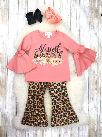 """Blessed Sassy"" Pink Top & Leopard Flare Leg Pants Outfit"