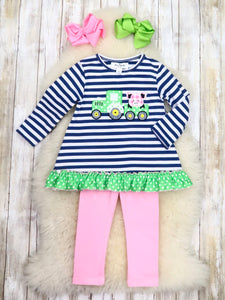 Navy / White Striped Pig Truck Ruffle Shirt & Pink Pants Outfit