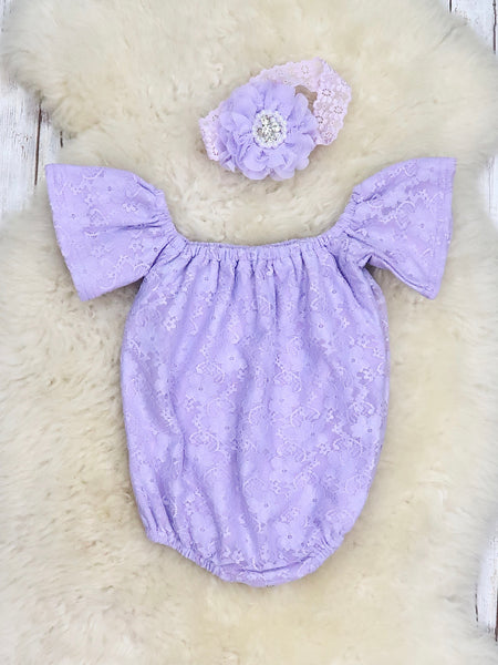 Lace Cotton Leo / Romper - Lavender