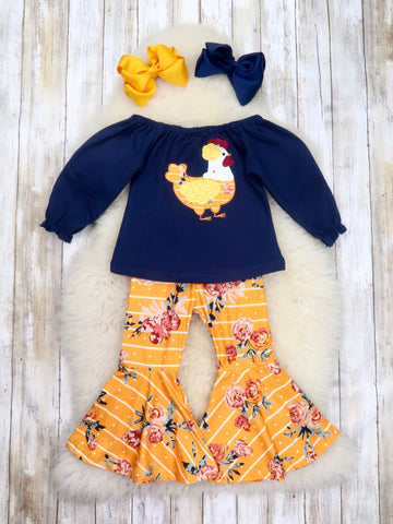 Navy Chicken Ruffle Top & Orange Floral Bell Bottoms Outfit