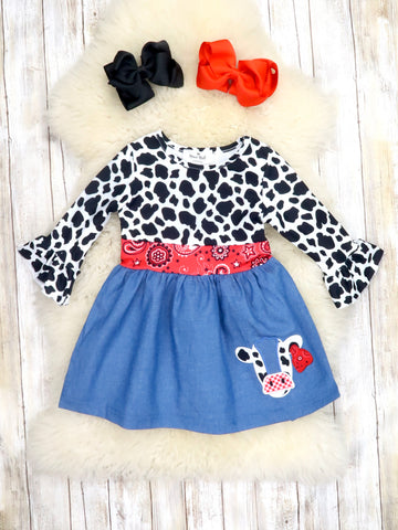 Cow Print & Paisley Ruffle Dress
