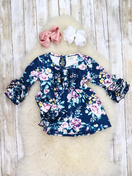 Button Ruffle Sleeve Tunic- Midnight Floral