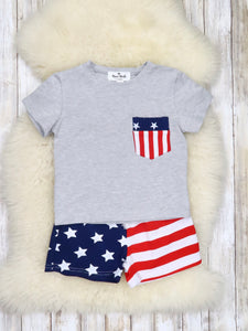 Patriotic Pocket Tee & Flag Shorts Outfit