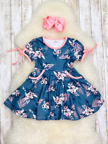 Ash Blue Floral Swing Dress