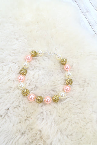Pink / Gold Bubblegum Pearl Necklace