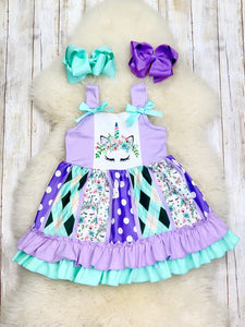 Lavender & Mint Unicorn Bunny Tank Dress