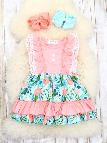 Coral / Blue Floral Ruffle Dress