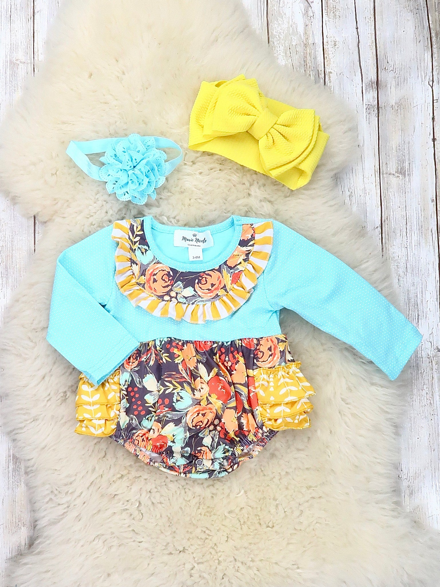 Blue Polka Dot / Floral Ruffle Bubble Romper