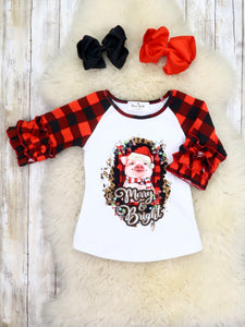 """Merry & Bright"" Pig Plaid Icing Ruffle Top"