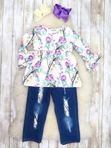 White / Purple Floral Ruffle Top & Distressed Denim Outfit