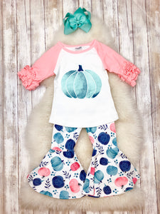 Watercolor Pumpkin Bell Bottom Outfit