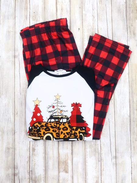 Mom & Me Plaid Christmas Tree Truck Pajamas