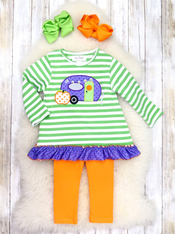 Pinstripe Halloween Camper Ruffle Top & Orange Pants Outfit