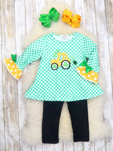 Checkered Shamrock Tractor Ruffle Top & Black Pants Outfit