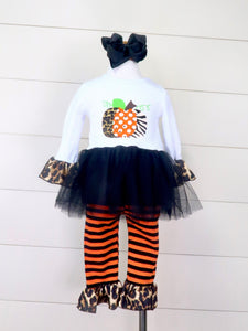 Pumpkin Leopard Top & Black/Orange Striped Pants Outfit