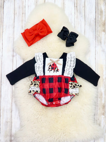 Leopard & Plaid Christmas Trees Ruffle Bubble Romper