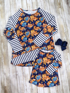 Mom & Me Striped Navy Floral Shirt