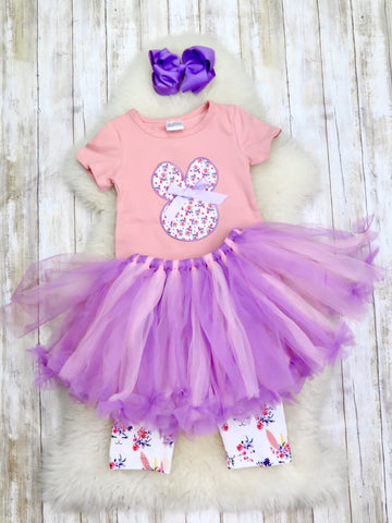 Unicorn Bunny Top, Capri & Tulle Skirt Outfit