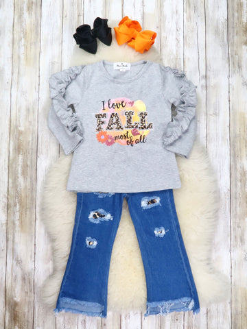 """I Love Fall"" Gray Top & Distressed Denim"