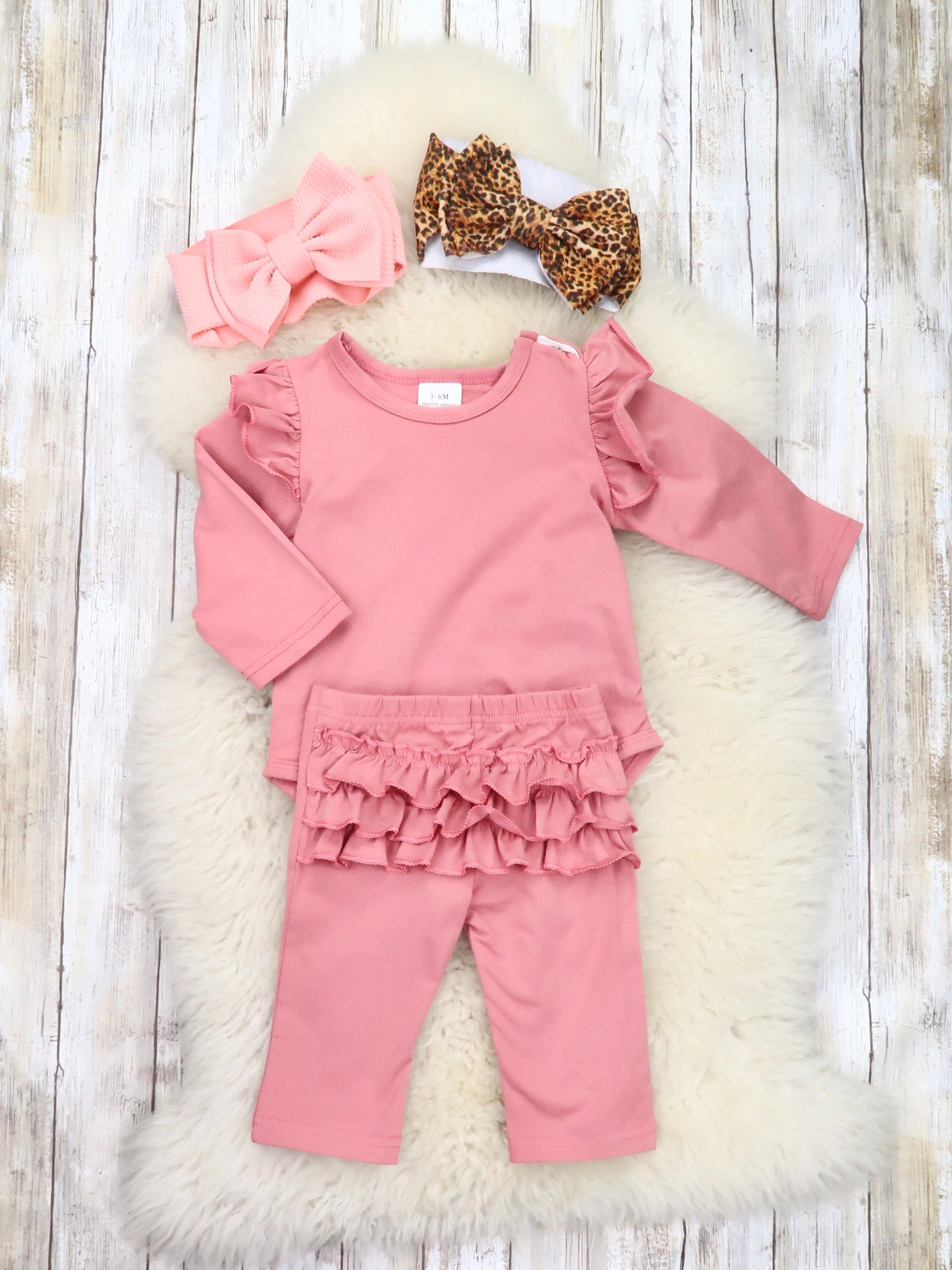 Dusty Rose Ruffle Onesie & Pants for Infant