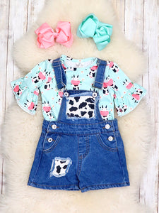 Cow Denim Overalls Outfit