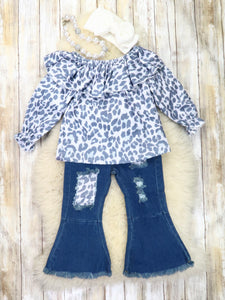 Gray Leopard Ruffle Top & Denim Bell Bottoms Outfit