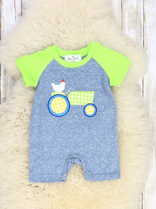 Heather Blue & Lime Green Chicken On a Tractor Embroidery Romper