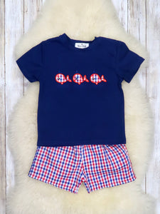Patriotic Whale Shirt & Shorts Outfit