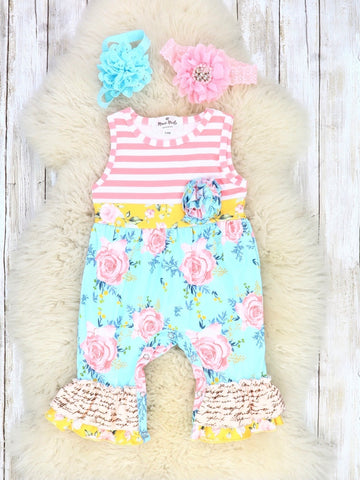 Pink Rose Striped Ruffle Romper