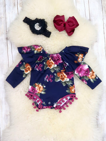 Purple / Gold Floral Ruffle Bubble Romper
