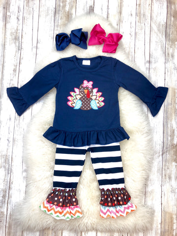 Navy/Striped Turkey Ruffle Outfit