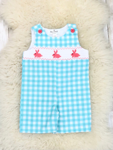 Turquoise Gingham Smocked Neckline with Bunny Embroidery Romper