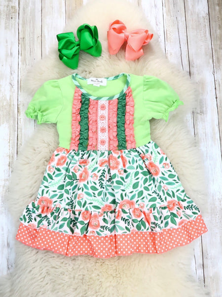 Coral / Green Floral Ruffle Dress