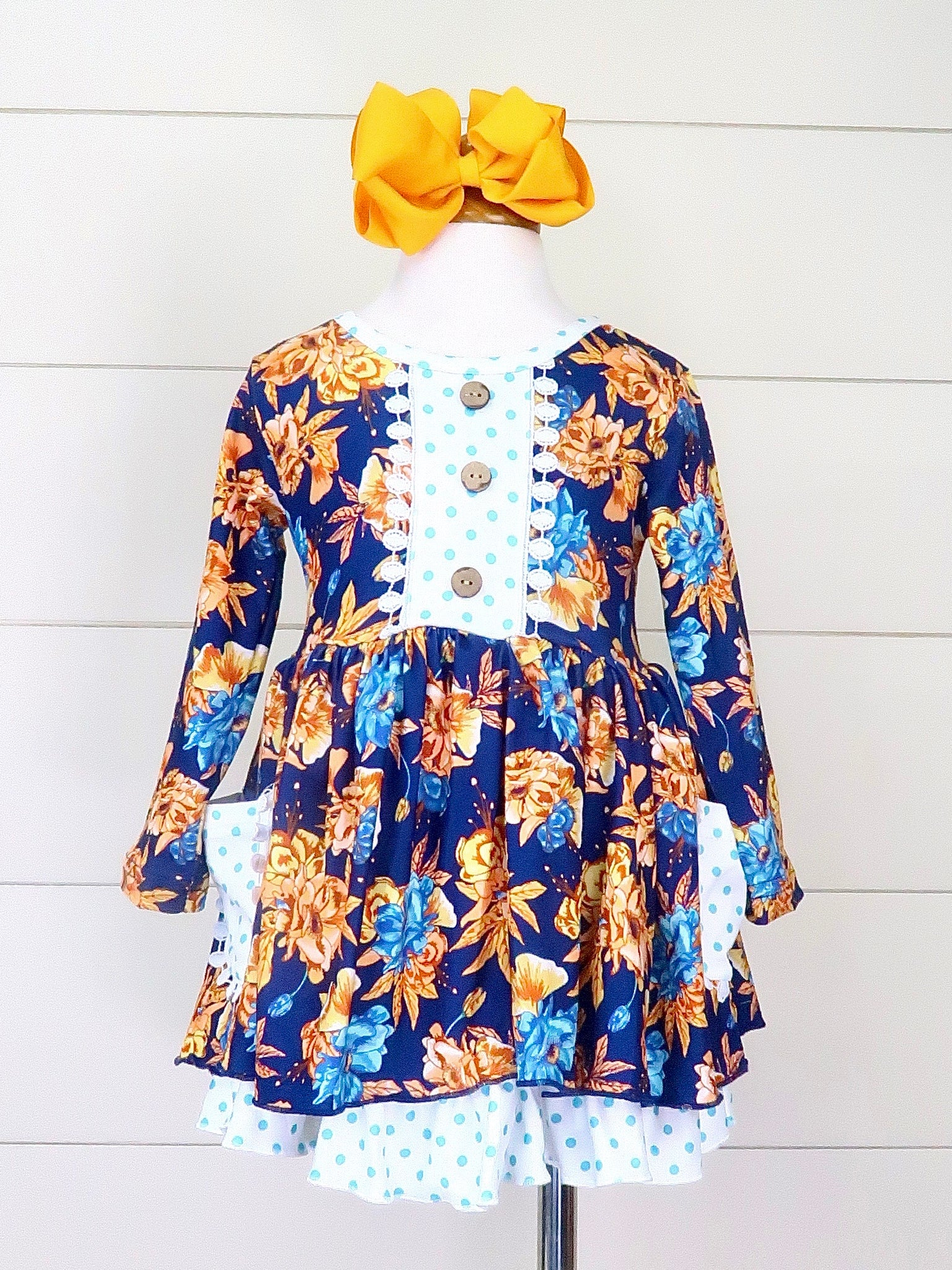 Navy & Polka Dot Fall Floral Ruffle Dress