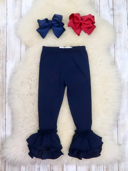 Cotton Tulip Ruffle Leggings - Navy
