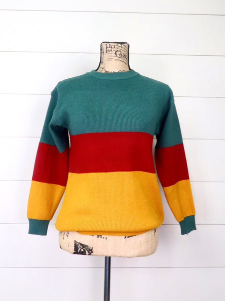 Mom & Me Green/Red/Mustard Colorblock Crewneck Sweater