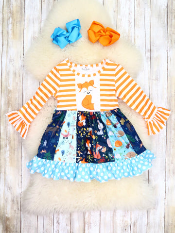 Orange Striped & Polka Dot Fox Ruffle Dress