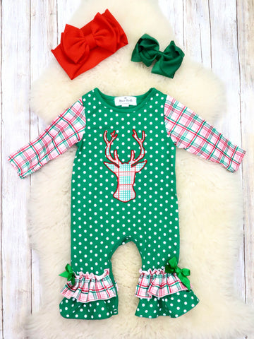 Red / Green Plaid Reindeer Polka Dot Ruffle Romper