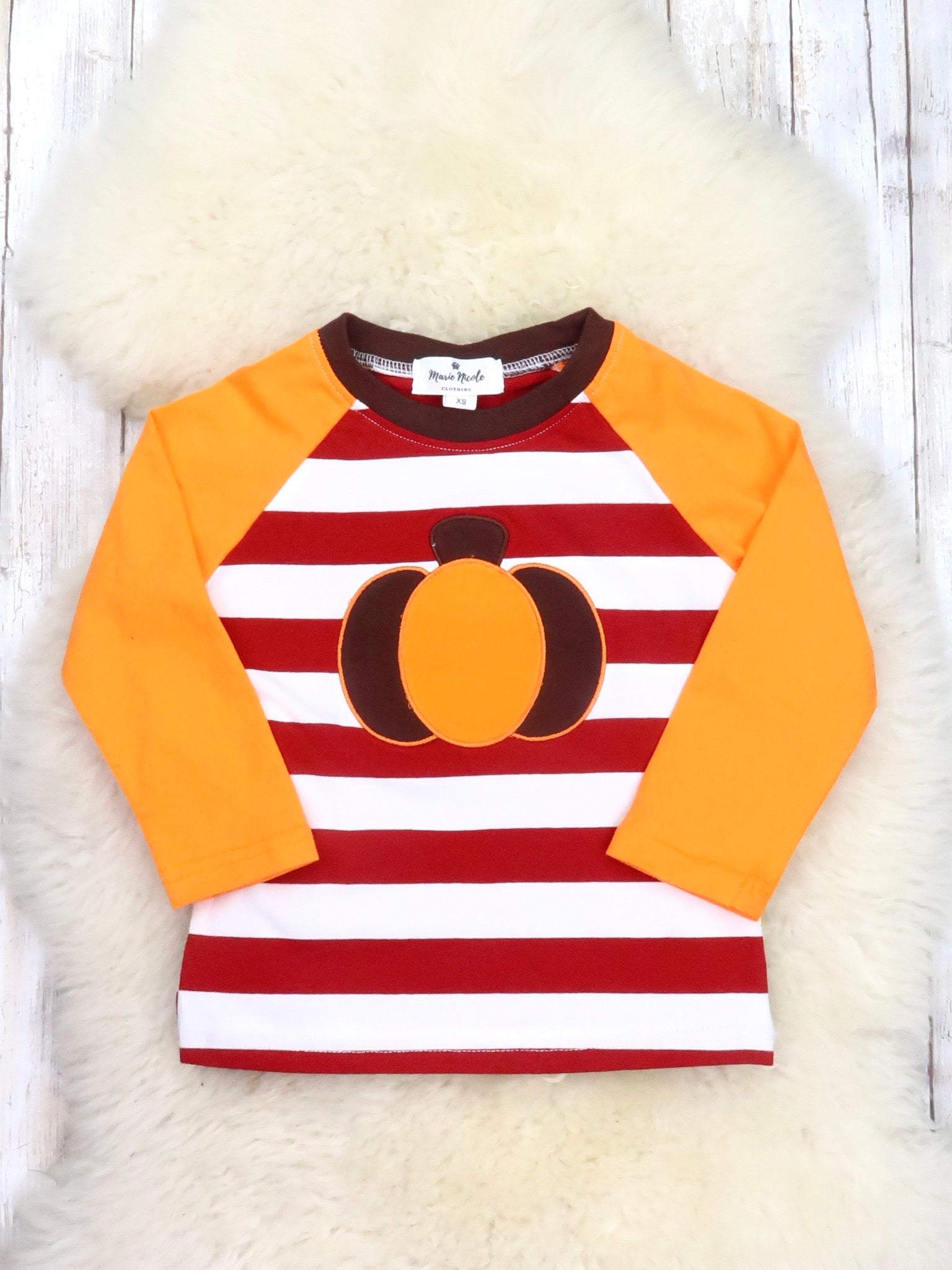 Red / White Striped Orange Pumpkin Shirt