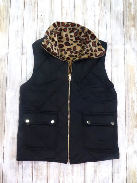 Mom & Me Black Quilted Leopard Reversible Vest