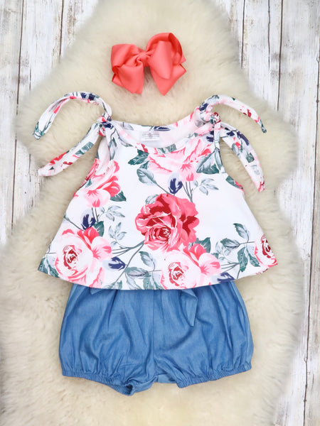 White Rose Tie Tank Top and Paper Bag Shorts Set